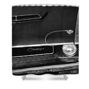 1970 Dodge Challenger T/a In Black And White Shower Curtain