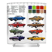 1970 Dodge Coronet Models And Colors Shower Curtain