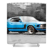 1970 Ford Mustang Boss Blue Watercolor Shower Curtain