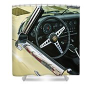 1970 Jaguar Xk Type-e Steering Wheel Shower Curtain