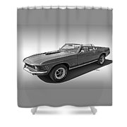 1970 Mach 1 Mustang 351 Cleveland In Black And White Shower Curtain