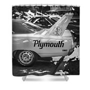1970 Plymouth Road Runner Hemi Super Bird Bw Shower Curtain