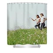 1970s Boy Girl Running Field Shower Curtain