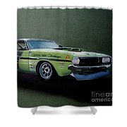 1970's Challenger Race Car Shower Curtain