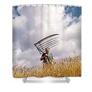 1970s Man Farmer Field Hand Wearing Shower Curtain