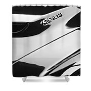 1971 Dodge 426 Hemi Challenger Rt Hood Emblem Shower Curtain by Jill Reger