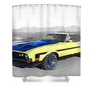 1971 Ford Mustang Boss Watercolor Shower Curtain