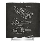 1972 Chris Craft Boat Patent Artwork - Gray Shower Curtain