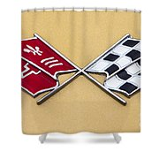 1972 Corvette Crossed Flags Shower Curtain
