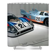 1972 Porsche 917 Lh Coupe And 1970 Porsche 917 Kh Coupe Shower Curtain