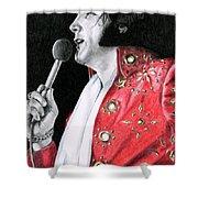 1972 Red Pinwheel Suit Shower Curtain
