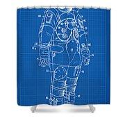1973 Nasa Astronaut Space Suit Patent Art Shower Curtain