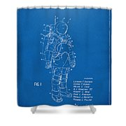 1973 Space Suit Patent Inventors Artwork - Blueprint Shower Curtain by Nikki Marie Smith