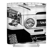 1973 Toyota Fj40 Land Cruiser Grille Emblem -1918bw Shower Curtain