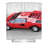 1974 Lamborghini Countach Watercolor Shower Curtain