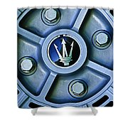 1974 Maserati Merak Wheel Emblem Shower Curtain