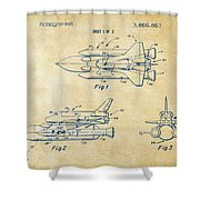 1975 Space Shuttle Patent - Vintage Shower Curtain by Nikki Marie Smith