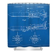 1975 Space Vehicle Patent - Blueprint Shower Curtain by Nikki Marie Smith