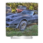 1977 Corvette Black Shower Curtain