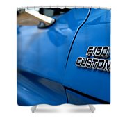 1977 Ford F 150 Custom Name Plate Shower Curtain by Brian Harig
