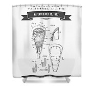 1977 Lacross Stick Patent Drawing - Retro Gray Shower Curtain