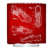 1980 Soccer Shoes Patent Artwork - Red Shower Curtain