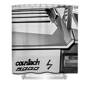 1982 Lamborghini Countach 5000s Taillight Emblem -0453bw Shower Curtain