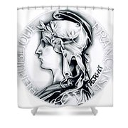 1896 French Indochine Silver Medal Of Honor - Original Shower Curtain