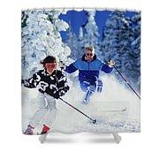 1990s Couple Skiing Vail Colorado Usa Shower Curtain