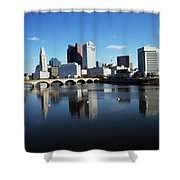 1990s Skyline Along The Scioto River Shower Curtain