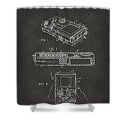 1993 Nintendo Game Boy Patent Artwork - Gray Shower Curtain