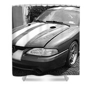 1996 Mustang Cobra In Black And White Shower Curtain