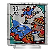 1996 Winter Skaters Stamp Shower Curtain