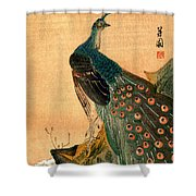 19th C. Japanese Peacock Shower Curtain