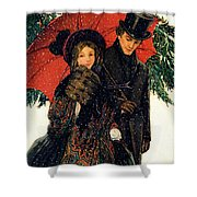 19th C. Young Couple In Winter Shower Curtain