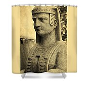 19th Century Granite Stone Sepia Sphinx Bust Poster Look Usa Shower Curtain