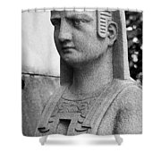 19th Century Granite Stone Sphinx Bust Black And White Poster Lo Shower Curtain
