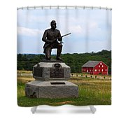 1st Pennsylvania Cavalry Defending Cemetery Ridge Shower Curtain by James Brunker
