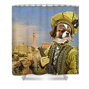 Tibetan Spaniel Art Canvas Print Shower Curtain