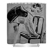 1920s Girl Black And White Shower Curtain