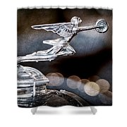 1930 Packard Model 733 Convertible Coupe Hood Ornament Shower Curtain