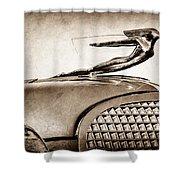1937 Cadillac V8 Hood Ornament Shower Curtain
