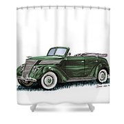 1937 Ford 4 Door Convertible Shower Curtain