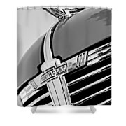 1938 Chevrolet Coupe Hood Ornament -0216bw Shower Curtain