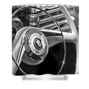 1942 Lincoln Continental Cabriolet Steering Wheel Emblem Shower Curtain