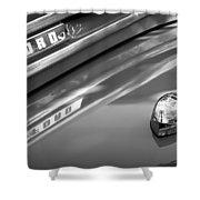 1949 Ford F-1 Pickup Truck Emblem -0027bw Shower Curtain