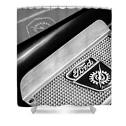 1949 Ford F-1 Pickup Truck Step Plate Emblem -0043bw Shower Curtain