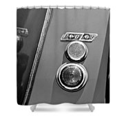 1949 Healey Silverstone Taillight Emblem Shower Curtain