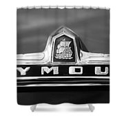 1949 Plymouth P-18 Special Deluxe Convertible Emblem Shower Curtain by Jill Reger
