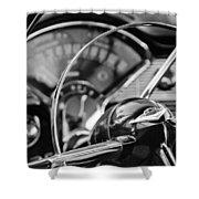 1956 Chevrolet Belair Steering Wheel Shower Curtain
